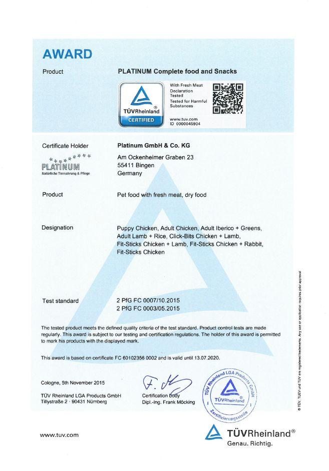 TÜV sertifikaat Platinum kuivtoit
