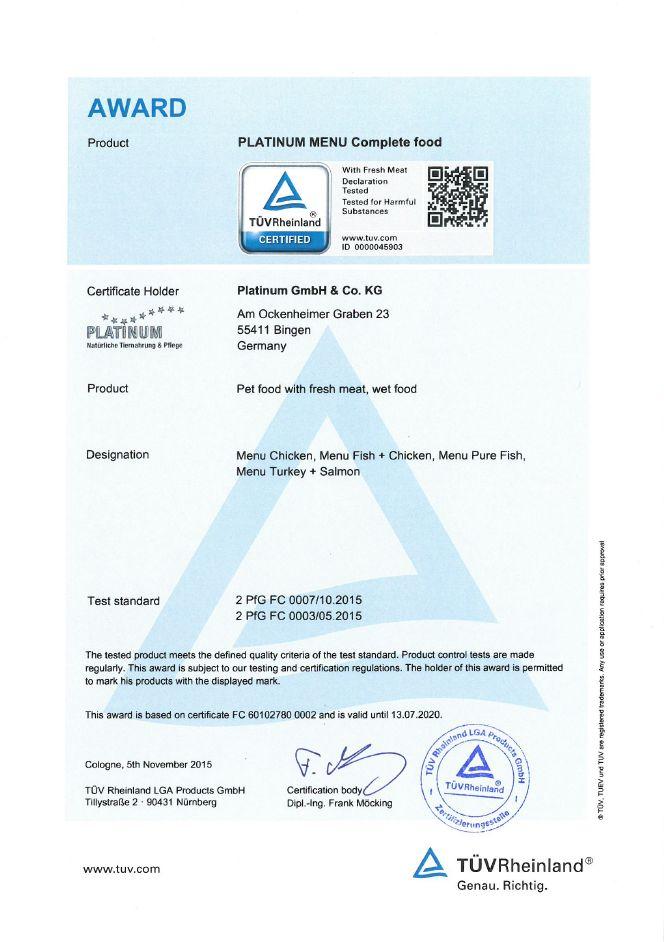 TÜV sertifikaat Platinum märgtoit